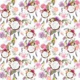 Мечт улавливатель, цветки, пер картина безшовная акварель стоковое изображение