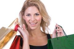 мешки держа женщину Стоковое Фото