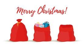 Мешки подарка мультфильма вектора, сумки Санта Клауса иллюстрация вектора