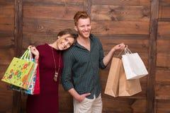 мешки соединяют счастливую покупку Стоковое Изображение