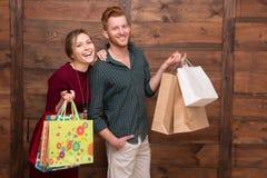 мешки соединяют счастливую покупку Стоковые Фото