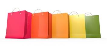 мешки 5 ходя по магазинам Стоковая Фотография