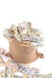 Мешок вполне американских долларов Стоковые Фото