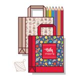 Мешок для ходить по магазинам Товары для детей вектор Стоковое Изображение