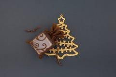 мешок кладет вал в коробку подарка рождества декоративный Стоковое Фото