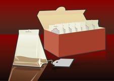 мешок кладет чай в мешки коробки Стоковые Изображения RF