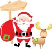 мешок носит подарок оленей claus его santa Стоковое Изображение