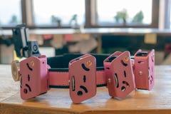 Мешок очарования розовый для пуль пистолета Приспособление для пуль и магазинов нося стоковые фотографии rf