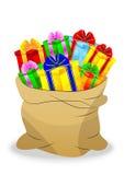 Мешок с яркими подарочными коробками Стоковая Фотография