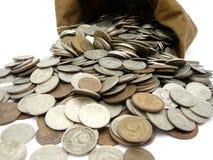 мешок чеканит деньги Стоковая Фотография RF