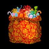 Мешок Khokhloma Frost отца на Новый Год Sackful с подарками для Стоковые Фотографии RF