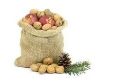 Мешочек из ткани вполне всех грецких орехов и яблок Стоковые Фото