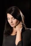 Меланхоличная женщина с серьезным выражением Стоковое фото RF