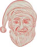 Меланхоличный чертеж головы Санта Клауса иллюстрация вектора