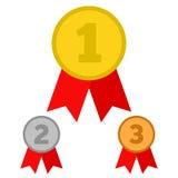 Медали награды на белизне Стоковое Фото