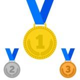Медали награды на белизне Стоковые Изображения