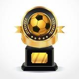 Медали награды футбола золотые. Стоковые Изображения RF