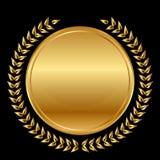 Медаль и лавры на черной предпосылке Стоковые Фото