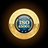 Медаль стандарта ISO 45001 - здоровье и безопасность иллюстрация штока