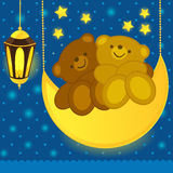 Медведи влюбленности на луне иллюстрация вектора