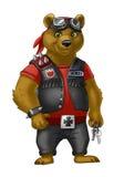 Медведь велосипедиста в изумлённых взглядах кожаной куртки и мотоцикла Стоковая Фотография