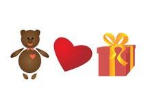 Медведь в бабочке Красное сердце Подарочная коробка с желтыми лентами изолированный комплект Стоковое Изображение