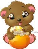 медведь ест мед иллюстрация штока
