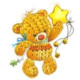 Медведь игрушки Нового Года смешной с украшением зимы акварель иллюстрация вектора