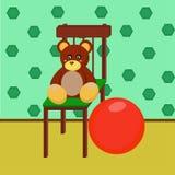 Медведь и красный шарик Стоковые Изображения