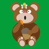 Медведь и пчела Стоковые Фото