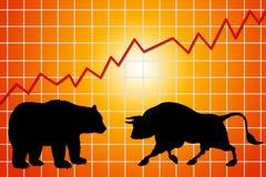 Медведь и рынок тенденцией к повышению курсов иллюстрация вектора