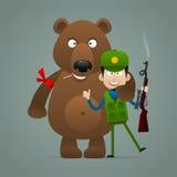Медведь концепции держит охотник и усмехаться бесплатная иллюстрация