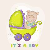 Медведь младенца в экипаже - для детского душа Стоковая Фотография
