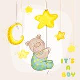 Медведь младенца с луной и звездами Стоковые Фотографии RF