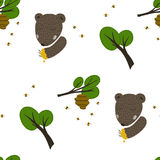 Медведь, пчелы и предпосылка меда Стоковая Фотография RF