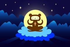 Медведь размышляя в ночном небе Стоковая Фотография