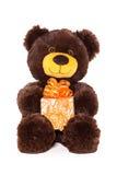 Медведь с подарком Стоковая Фотография