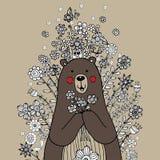 Медведь с флористическим вектором Doodle иллюстрация вектора