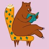 Медведь читая книгу иллюстрация вектора