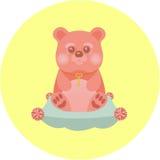 Медведь шаржа на подушке Стоковое Изображение