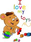 Медведь шаржа с игрушками Стоковые Изображения RF