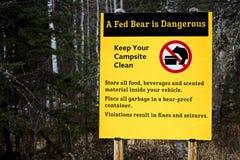 Медведь Fed опасный знак медведя Стоковое Изображение RF
