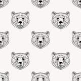 Медведя стороны эскиза картина реалистического безшовная вычерченная рука Стоковое Изображение