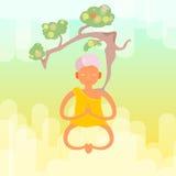 Медитативный монах с деревом иллюстрация штока