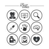 Медицина, медицинское здоровье и значки диагноза иллюстрация вектора