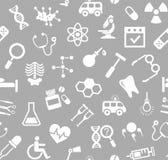 Медицина, серая предпосылка, плоский, безшовная, вектор Стоковая Фотография RF