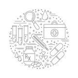 Медицинская диагностика, конструктивная схема графического дизайна проверки иллюстрация штока