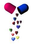 Медицинская капсула пилюльки с сердцами Стоковое фото RF