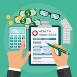 Медицинская страховка были рукой принципиальной схемы имеет пилюльку помощи медицинского соревнования последнюю Стоковые Изображения