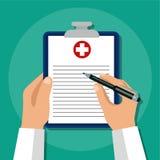 Медицинская страховка были рукой принципиальной схемы имеет пилюльку помощи медицинского соревнования последнюю Стоковые Изображения RF